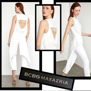 💥BCBGMAXAZRIA White Top Lace, Fringe, Draped Back